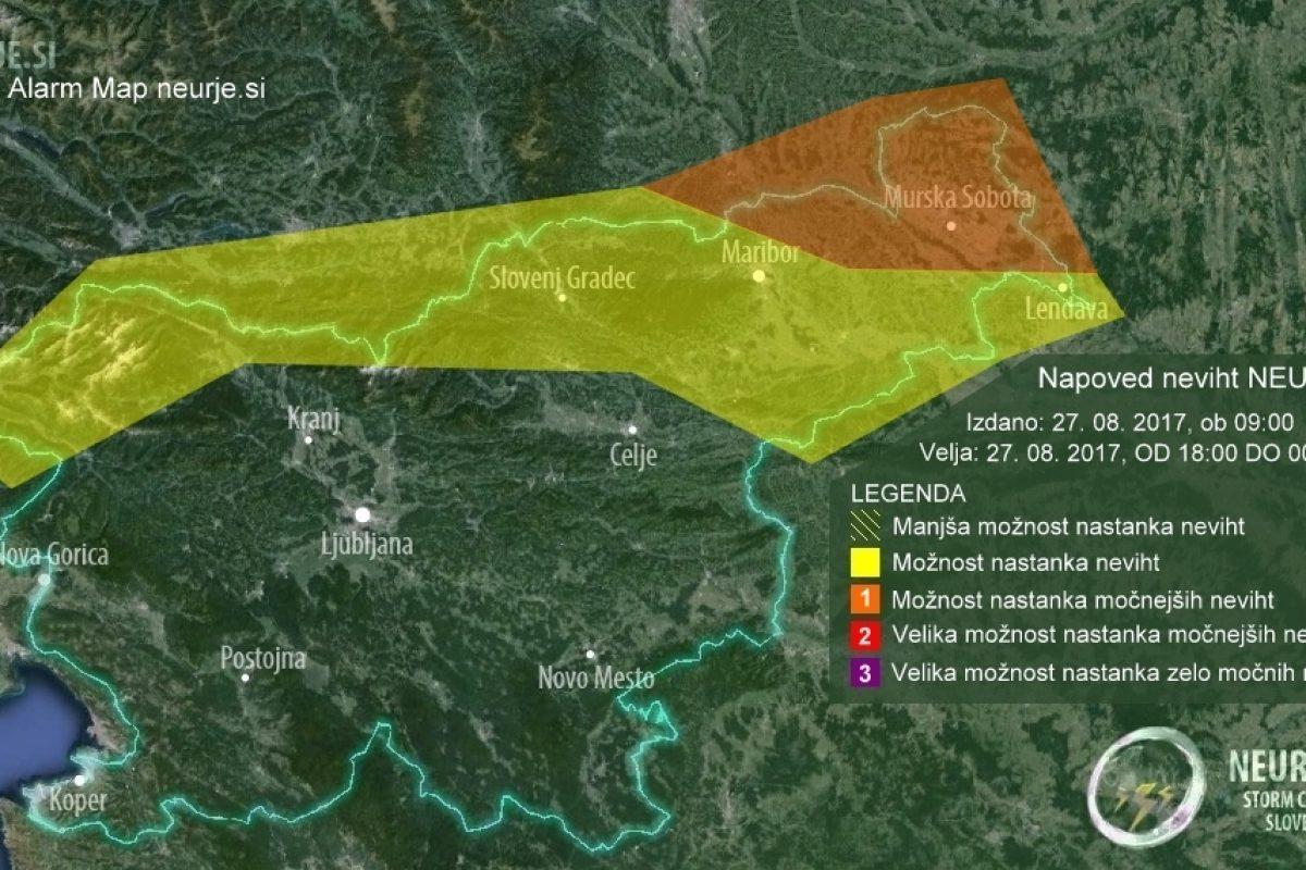 NAPOVED NEVIHT: Zvečer možnost nastanka neviht v severni Sloveniji
