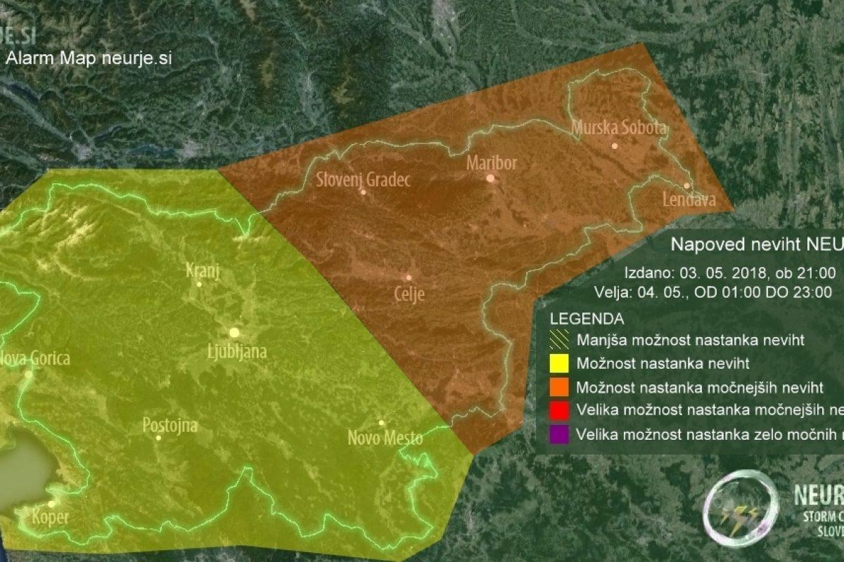 NAPOVED NEVIHT: Petek bo zelo nestabilen, plohe in nevihte bodo pogoste v večjem delu države