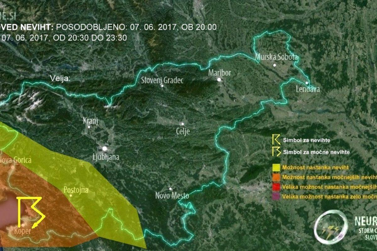 V naslednjih urah na Primorskem možna krajevna neurja!