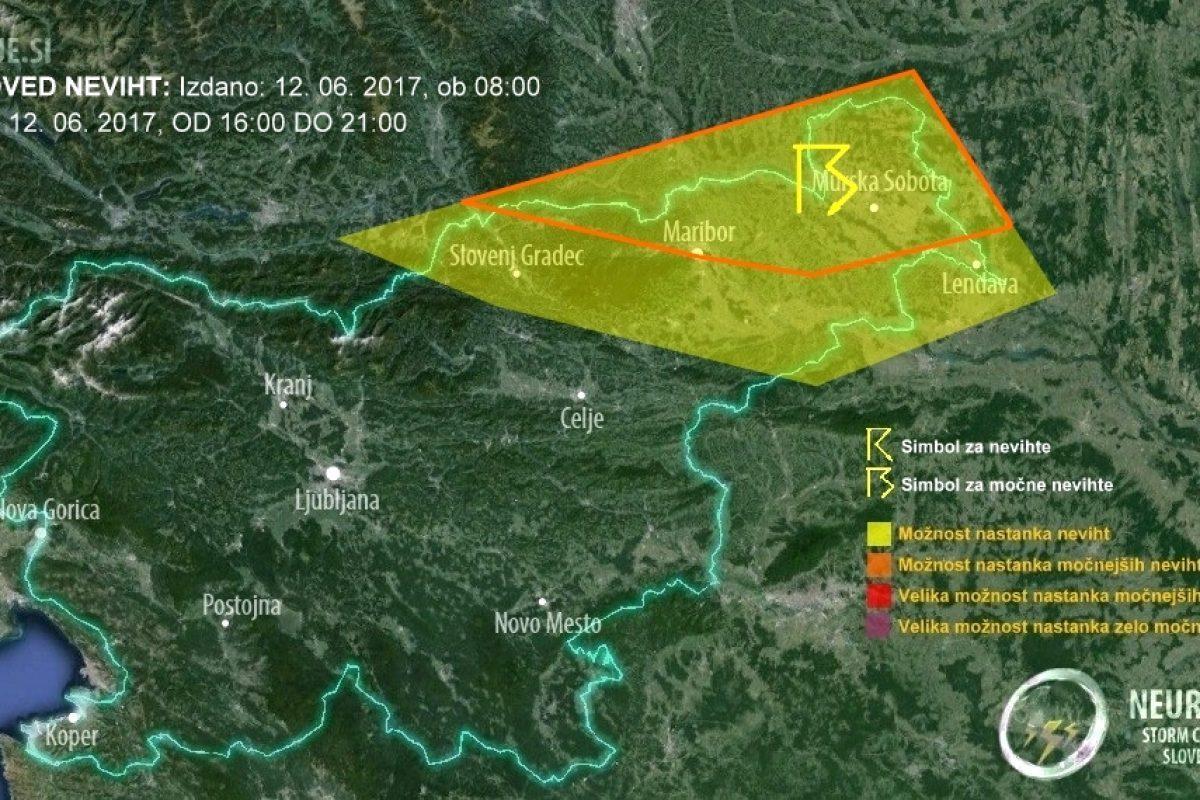 V Prekmurju in na Štajerskem pozno popoldan pričakujemo nevihte!
