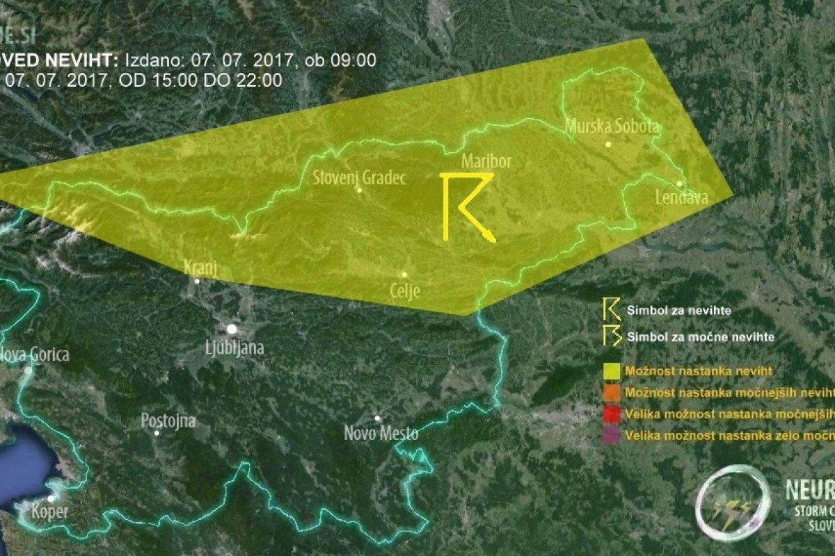 Popoldan in zvečer se bodo v severni Sloveniji pojavljale krajevne nevihte