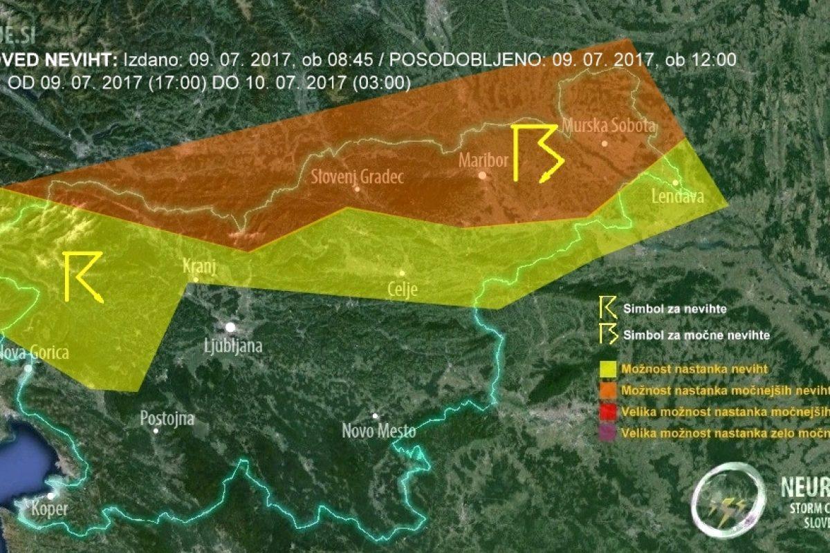 NAPOVED NEVIHT: Zvečer in ponoči bodo v severni Sloveniji možne močnejše nevihte