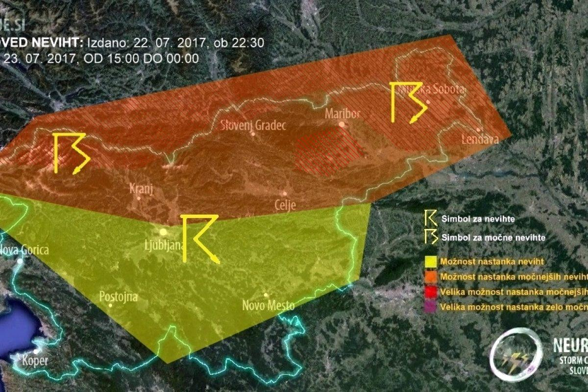 Severno Slovenijo bodo v nedeljo popoldan zajele nevihte, krajevno možna tudi neurja