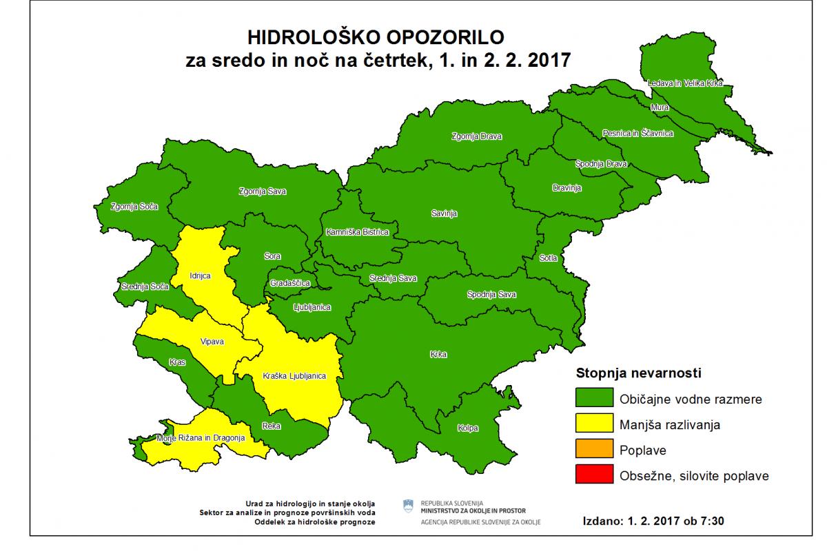 Razlivanje vodotokov v jugozahodni Sloveniji