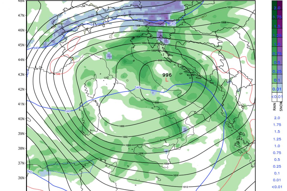 Meja sneženja se bo spustila, zapihal bo severovzhodni veter