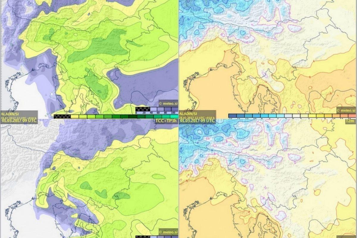 ZADNJI IZRAČUNI: Ponekod bo lahko snežilo do nižin, možne tudi nevihte!