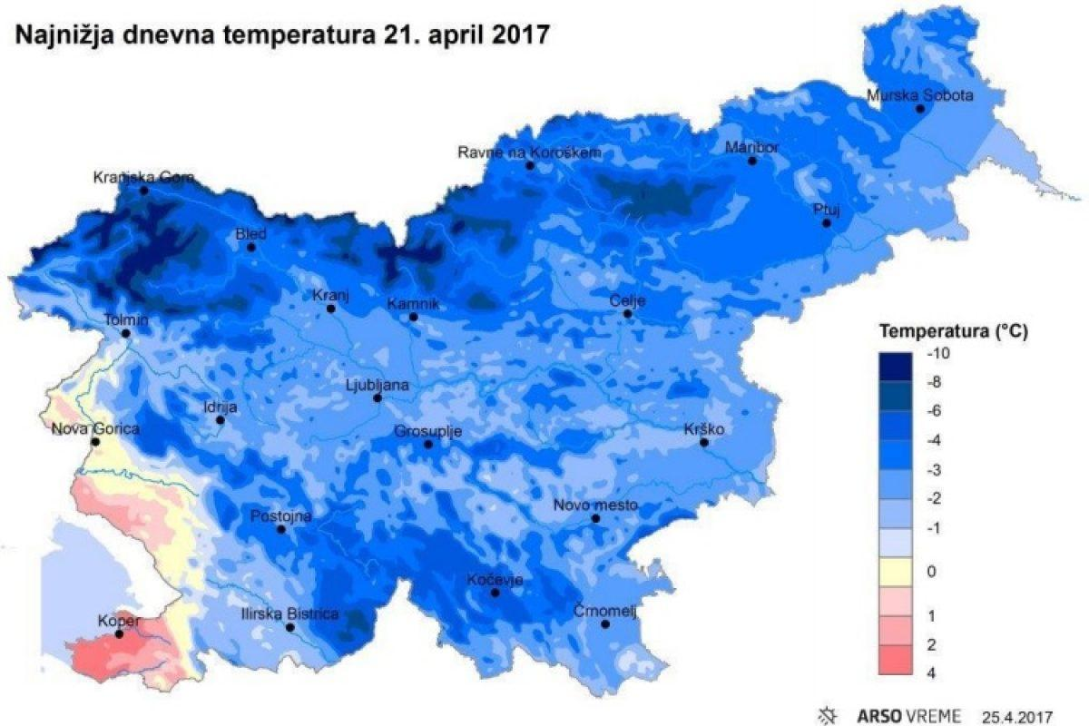 ARSO izdal poročilo o mrazu in pozebi 21. in 22. 04. 2017