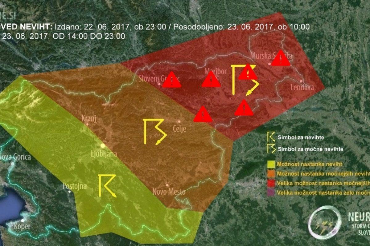 V naslednjih urah na Štajerskem, Koroškem in v Prekmurju možna močna neurja