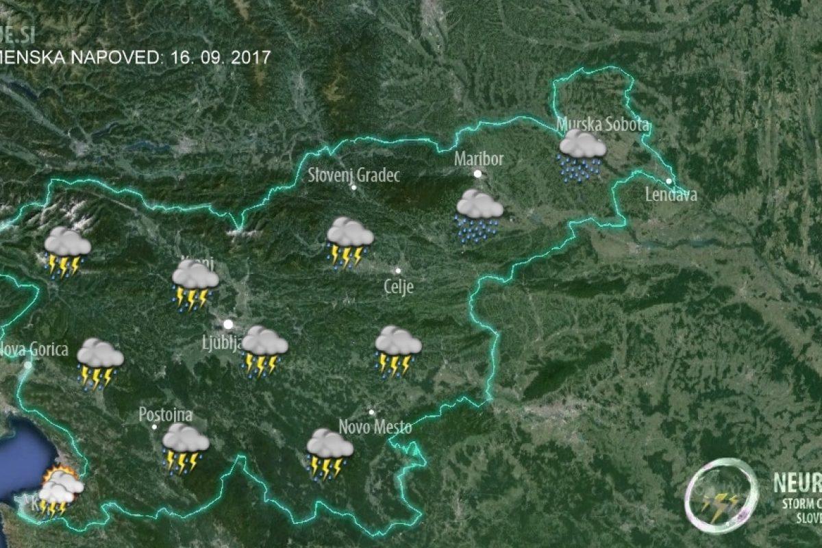 V naslednjih 12 urah se bodo pojavljale tudi nevihte z močnimi, dolgotrajnejšimi nalivi