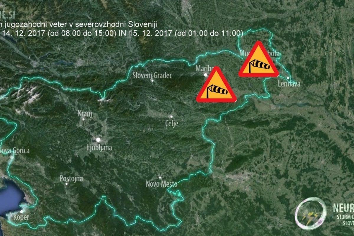 Jugozahodnik se na severovzhodu Slovenije krepi, najmočnejši bo v petek zjutraj!