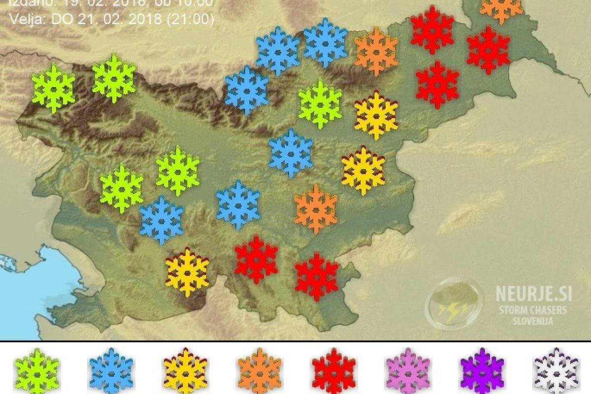 Vzhodni Sloveniji se obeta obilna snežna pošiljka, drugod bo snega le za vzorec