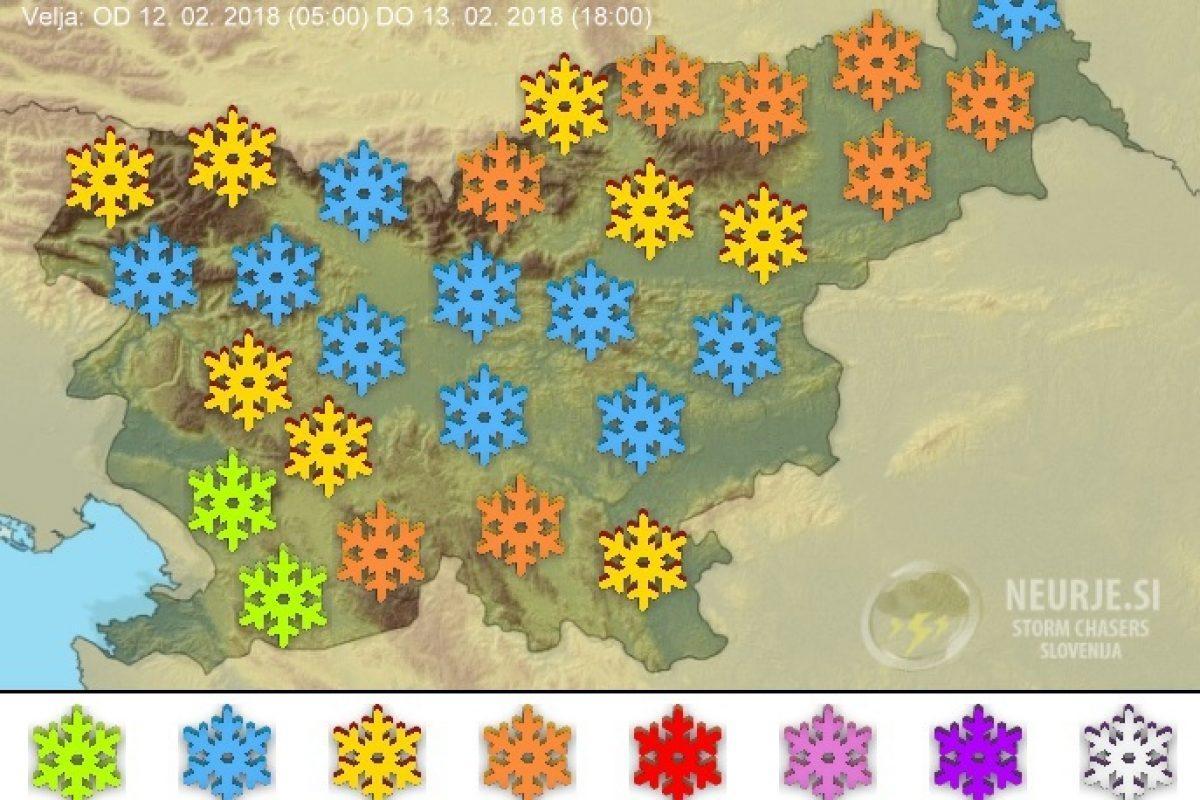 Največ novega snega bo na severu in severovzhodu Slovenije ter ponekod na jugu
