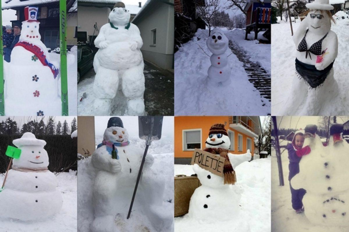 SNEŽAKI: Ko pri gradnji snežakov uporabimo vso svojo domišljijo