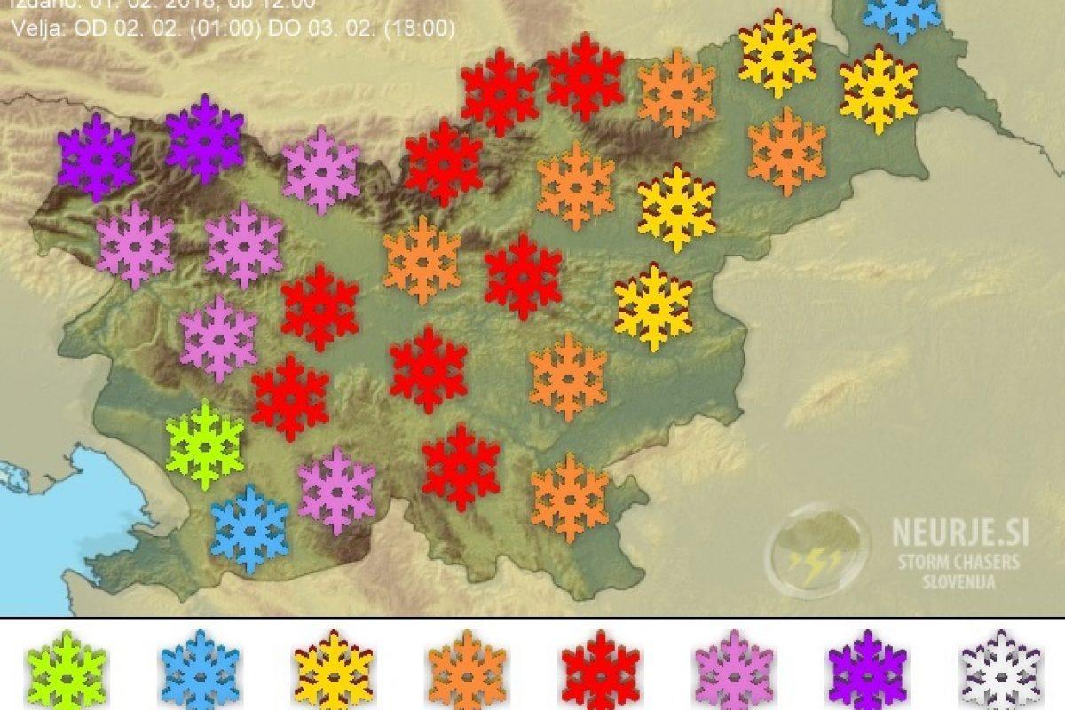 SNOW MAP: Največ snega bo zapadlo na Gorenjskem in Notranjskem, najmanj pa v Prekmurju